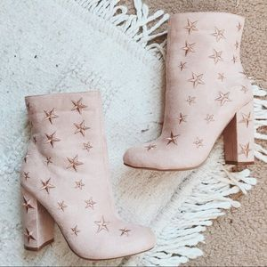 Pink Star Embroidered Booties